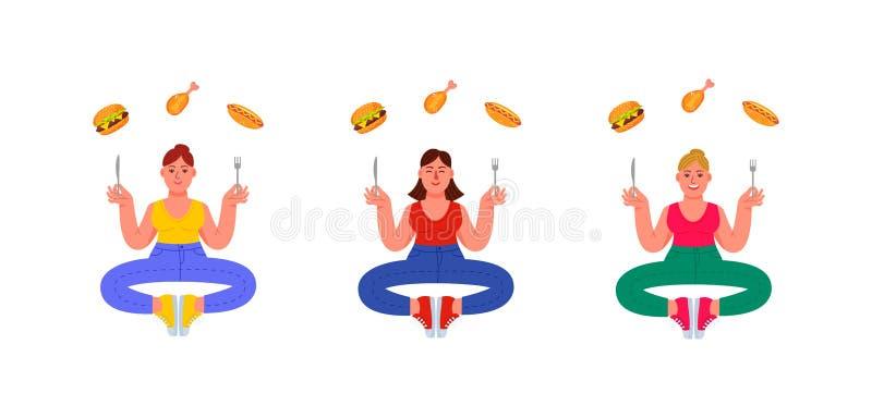 Tre plus-format kvinnor i poserar av meditation med en gaffel och en kniv i deras händer och sjukliga mat omkring Hamburgare varm royaltyfri illustrationer