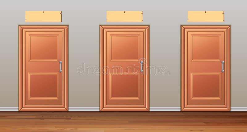 Tre porte di legno nel corridoio illustrazione di stock