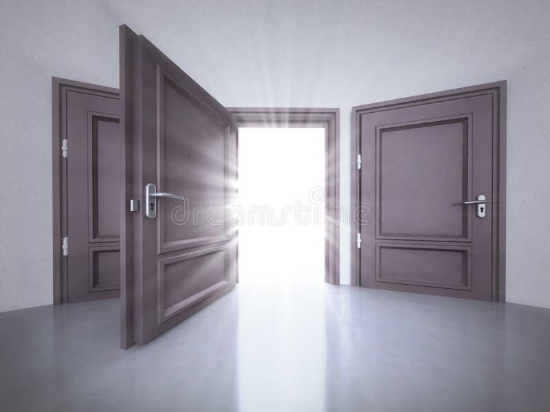 Tre Porte Interne Con Quella Aperta Con Il Chiarore In 3D ...