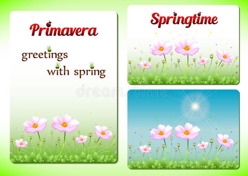 Tre positiva mallar för vår med rosa färger blommar på gräsmatta royaltyfri illustrationer