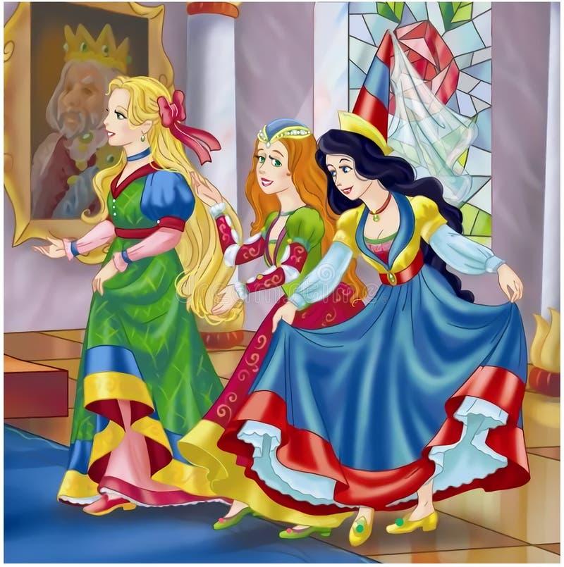 Tre principesse di favola illustrazione vettoriale