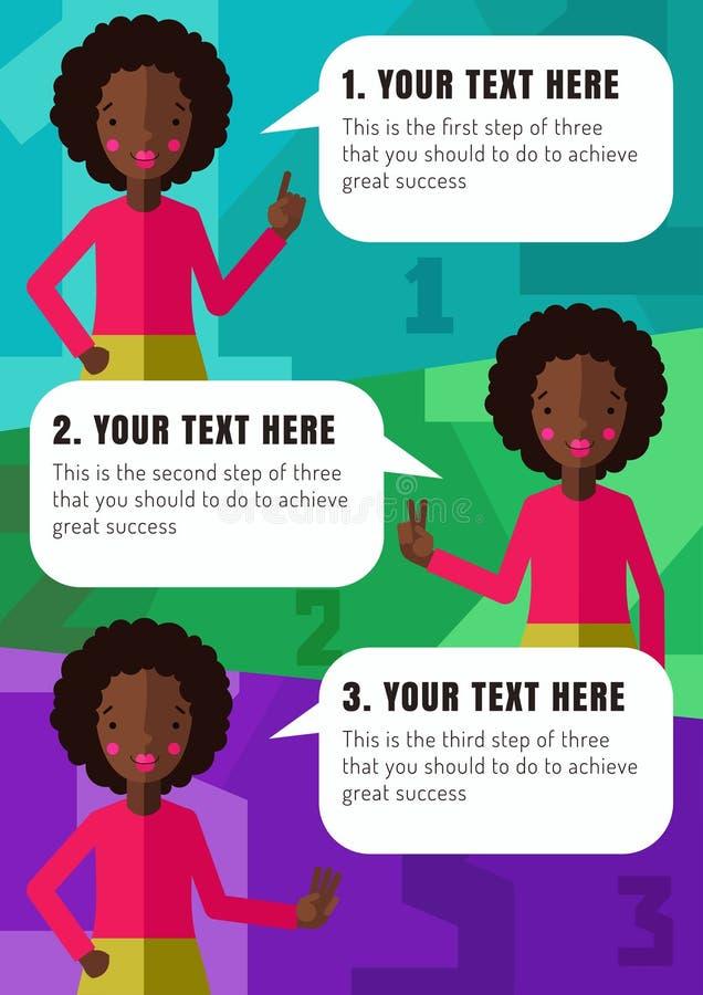Tre punti di realizzazione la vostra idea con la ragazza afroamericana nel vettore royalty illustrazione gratis