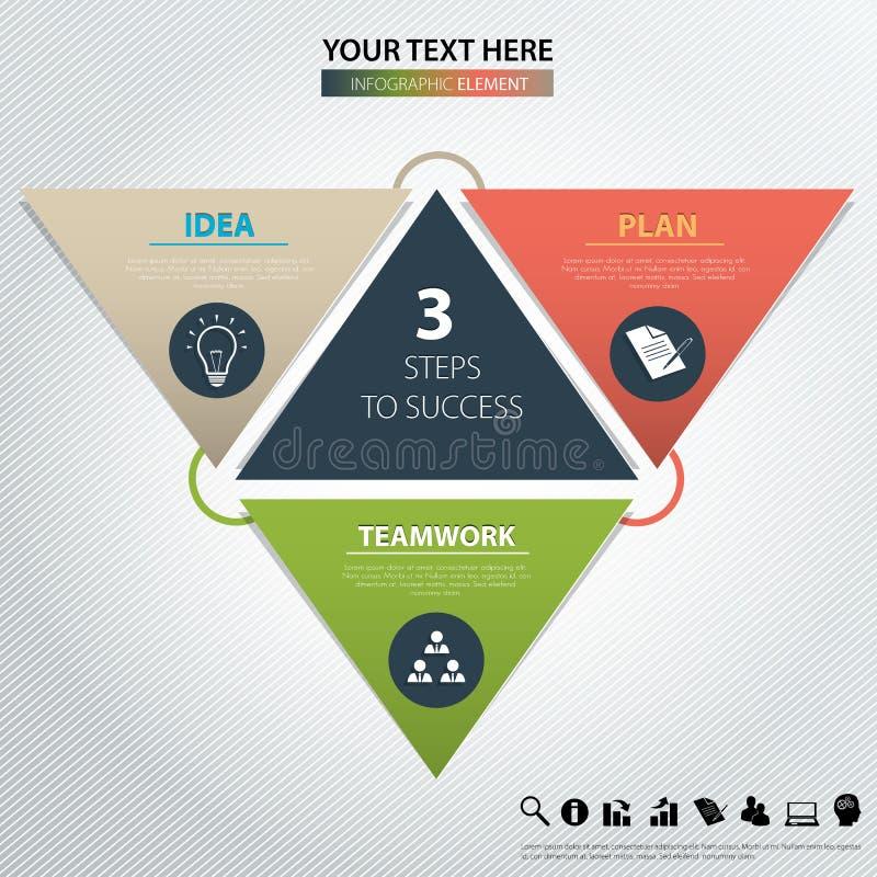 Tre punti a successo Elemento di disegno di vettore illustrazione di stock