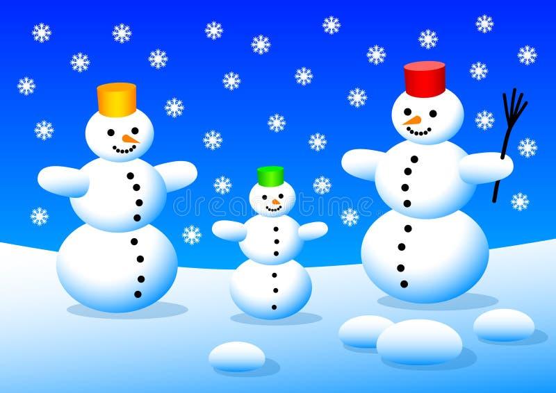 Tre pupazzi di neve illustrazione di stock