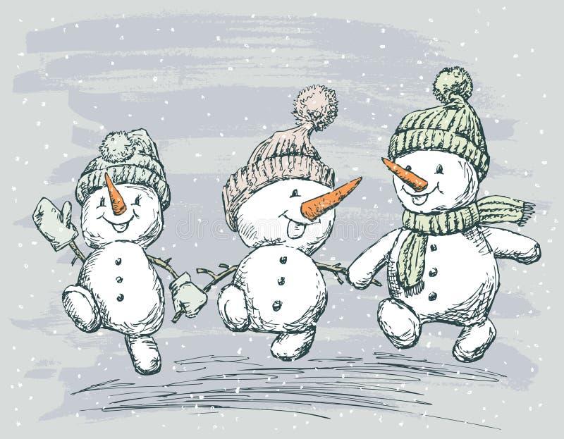 Tre pupazzi di neve royalty illustrazione gratis