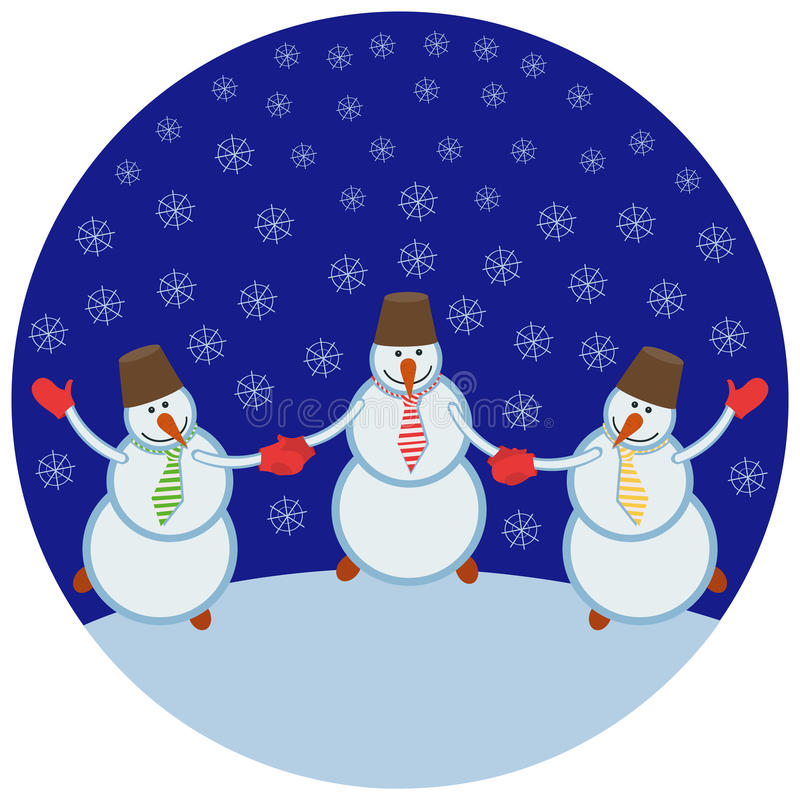 Tre pupazzi di neve allegri illustrazione di stock