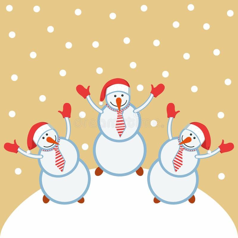 Tre pupazzi di neve divertenti felici illustrazione vettoriale
