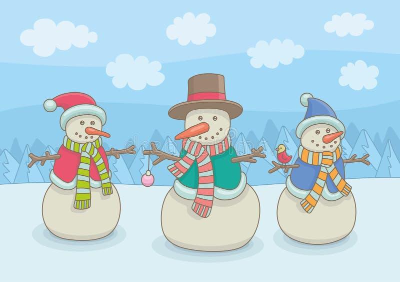 Tre pupazzi di neve felici illustrazione vettoriale