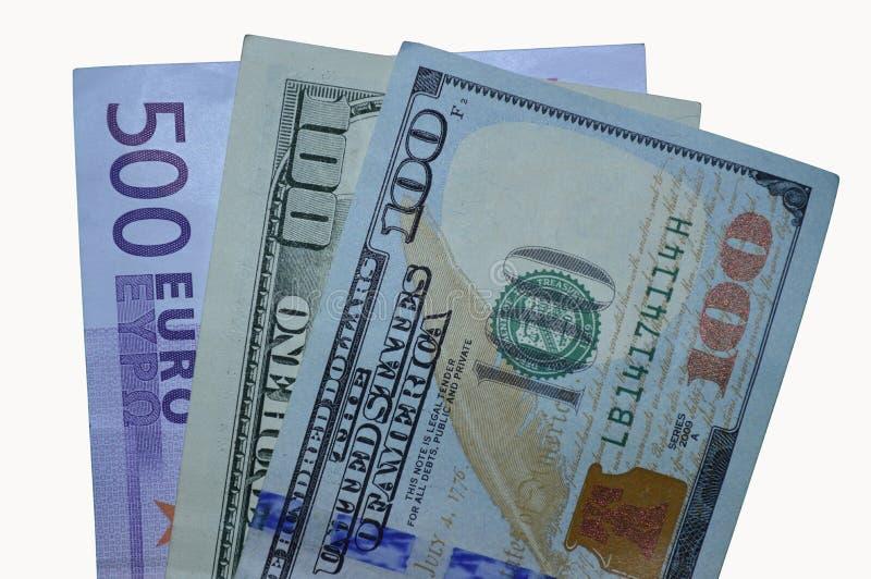 Tre räkningar: ny 100 dollar som är gamla och 500 euro royaltyfri fotografi