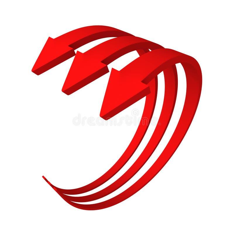 Tre röda cirkuleringspilar som växer upp vektor illustrationer