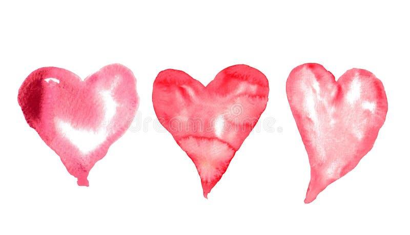 Tre röda hjärtor på vit bakgrund, vattenfärgillustratör stock illustrationer
