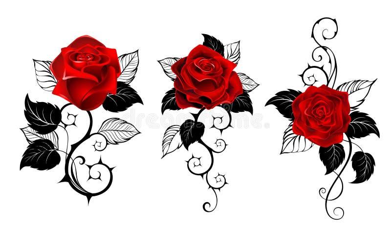 Tre röda rosor för tatuering vektor illustrationer