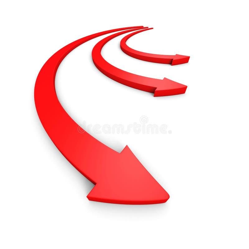 Tre rörande röda pilar framåtriktat bollar dimensionella tre royaltyfri illustrationer