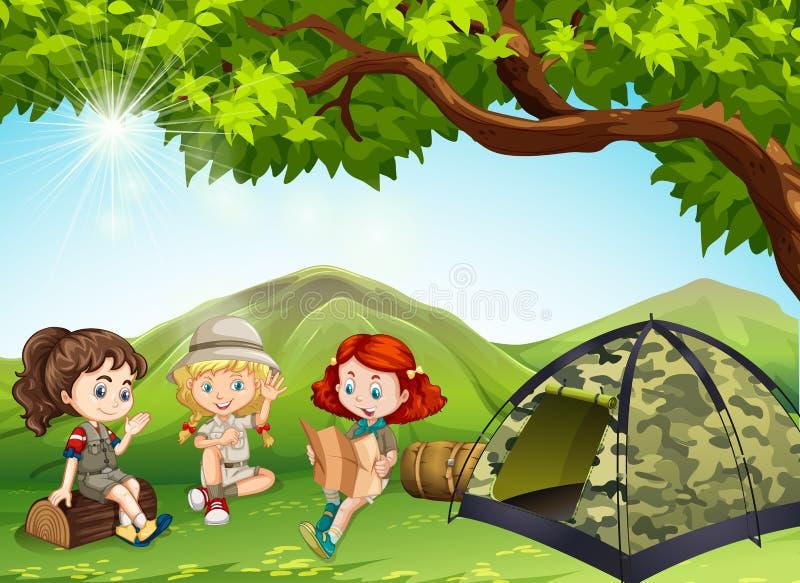 Tre ragazze che si accampano fuori nel campo illustrazione di stock