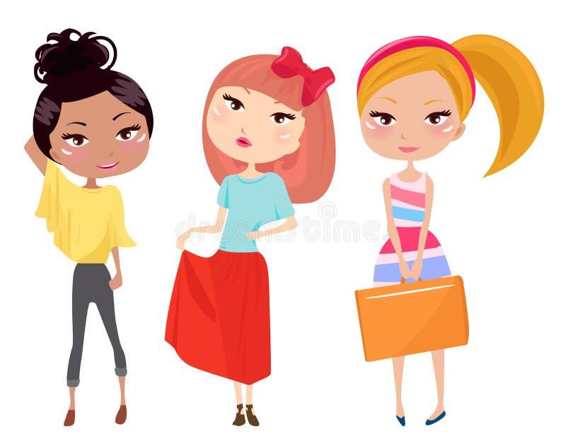 Tre ragazze di modo illustrazione vettoriale