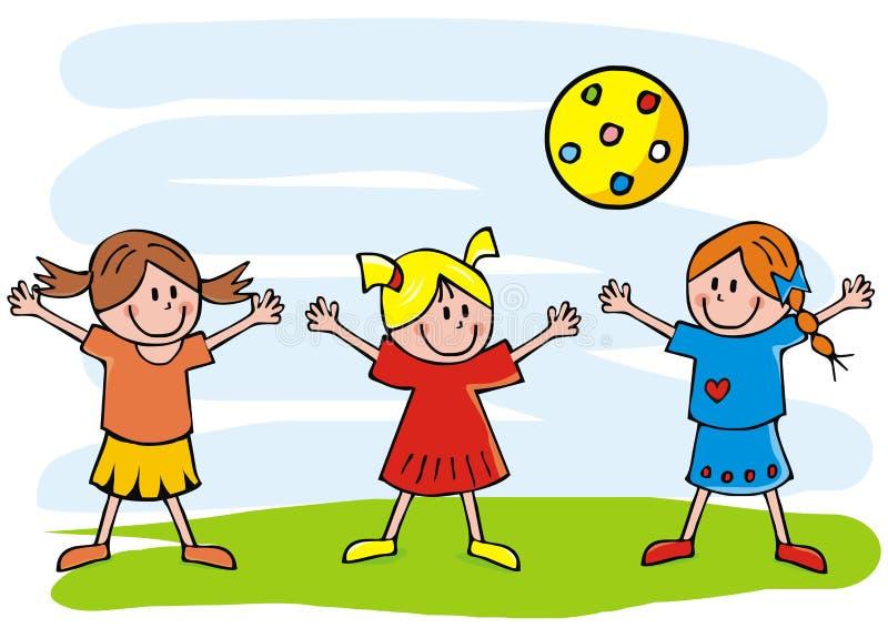 Tre ragazze e palle, illustrazione divertente di vettore, bambini felici illustrazione vettoriale