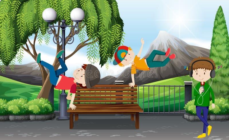 Tre ragazzi che ballano nel parco illustrazione di stock