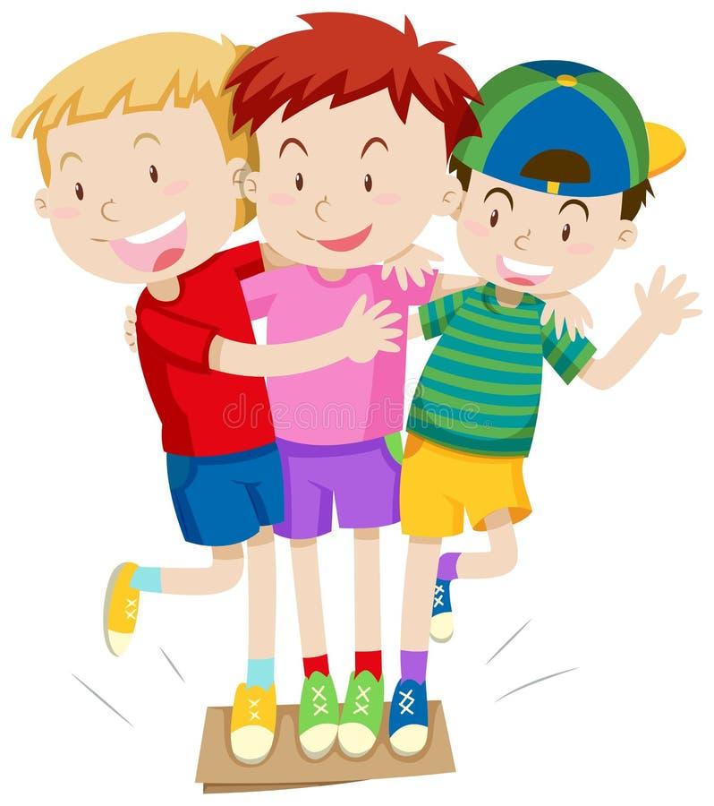 Tre ragazzi che giocano gioco royalty illustrazione gratis