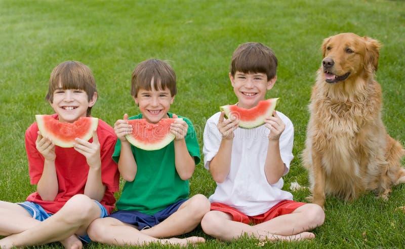 Tre ragazzi che mangiano anguria fotografia stock