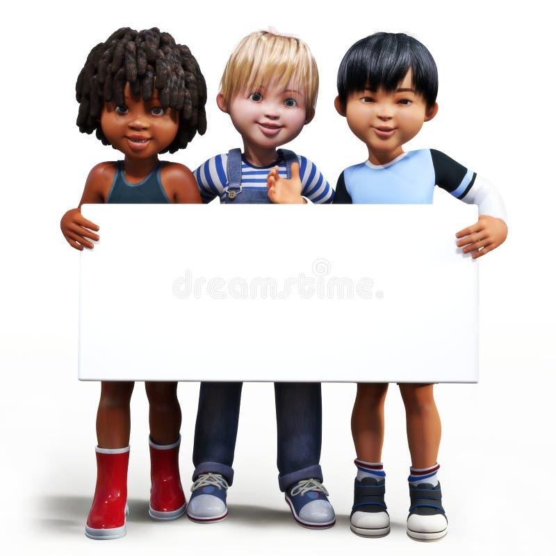 Tre ragazzi che ostacolano un bordo bianco del segno vuoto con stanza per il vostro spazio della copia o del testo illustrazione vettoriale