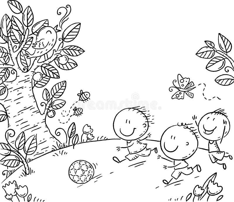 Tre ragazzi felici che giocano a calcio all'aperto, clipart in bianco e nero di vettore illustrazione di stock