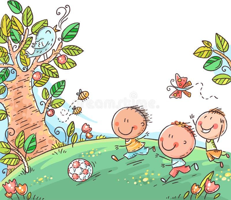 Tre ragazzi felici che giocano a calcio all'aperto, vettore illustrazione di stock