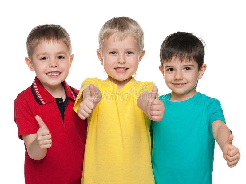 Tre ragazzini allegri fotografia stock libera da diritti