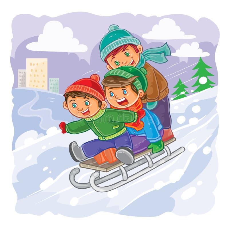Tre ragazzini rotolano insieme sulla slitta da una collina illustrazione vettoriale
