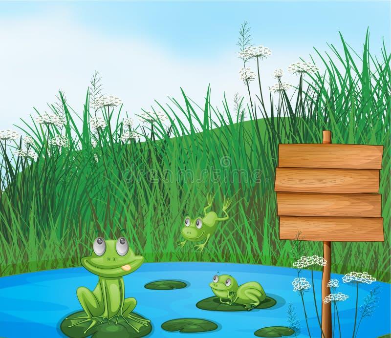 Tre rane allegre allo stagno accanto ad un contrassegno vuoto illustrazione vettoriale