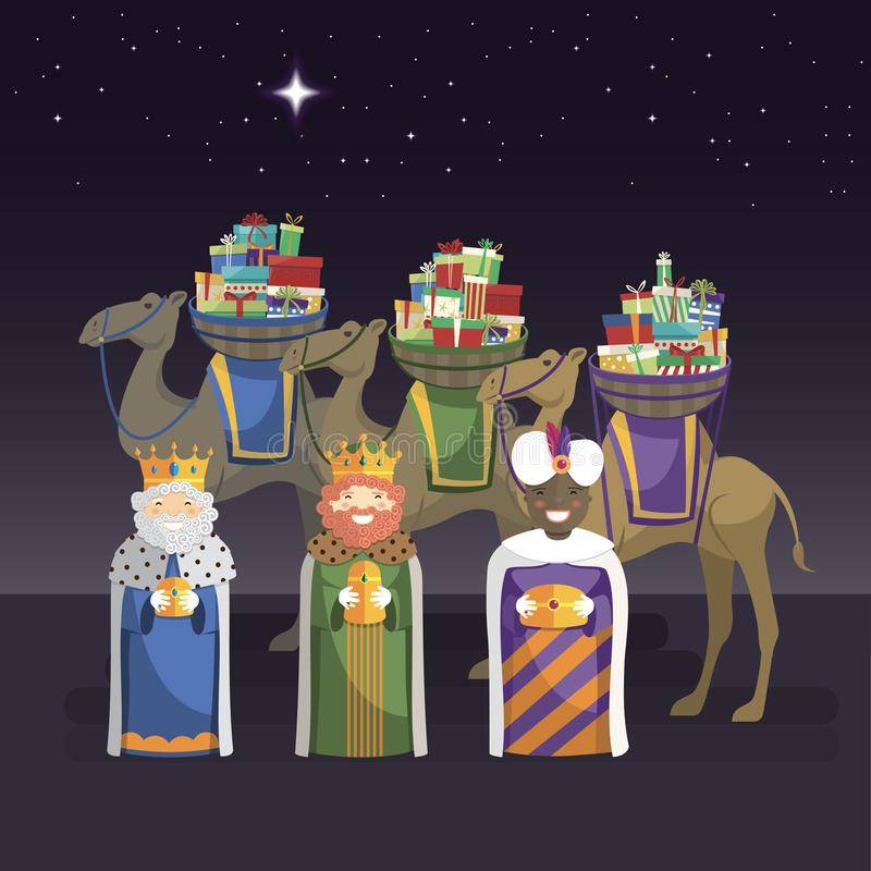 Tre re con i cammelli ed i regali alla notte illustrazione vettoriale