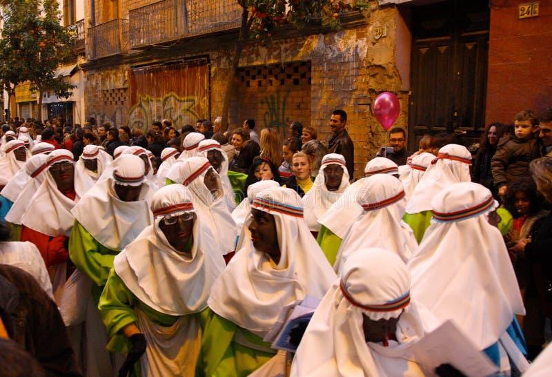 Tre re Parade in Siviglia, Spagna fotografia stock libera da diritti