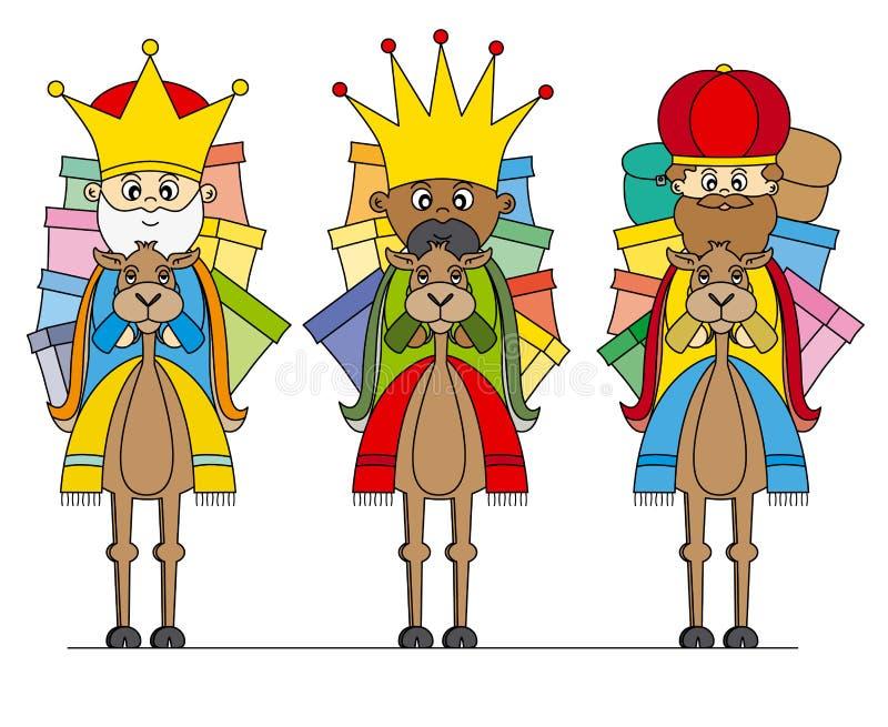 Tre re sui cammelli illustrazione di stock