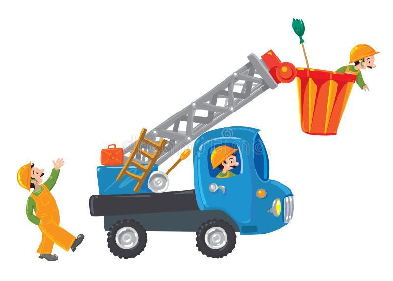 Tre roliga arbetare och maskin-elevator vektor illustrationer
