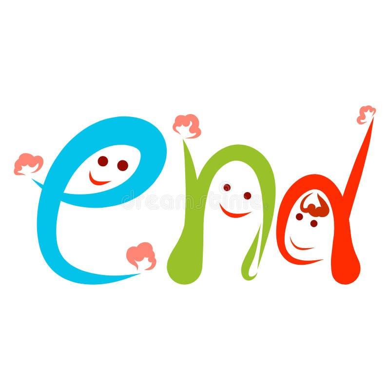 Tre roliga färgrika bokstäver som vinkar deras händer, ordslutet royaltyfri illustrationer