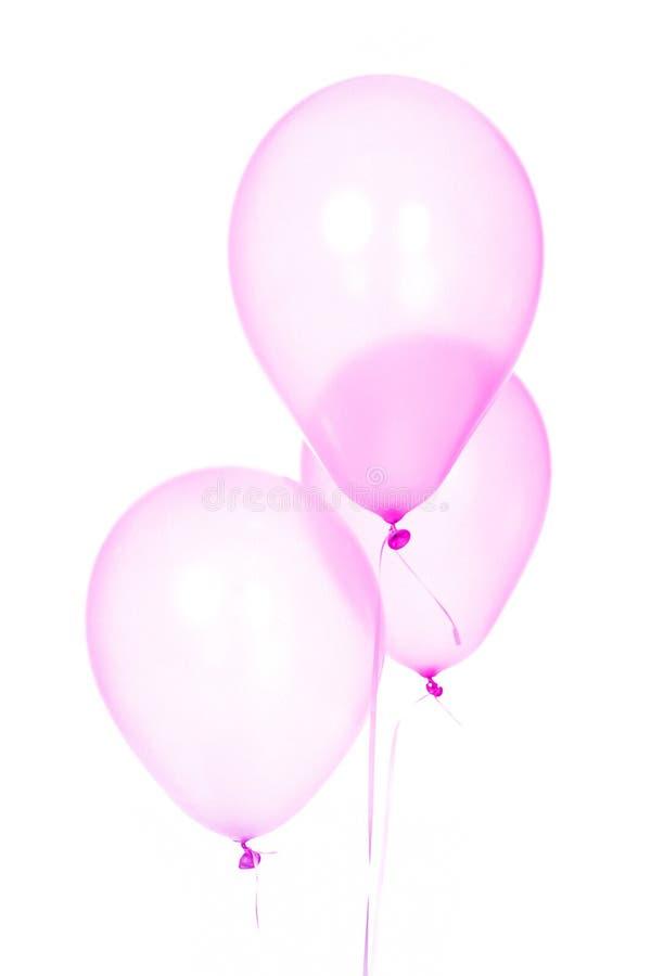 Tre roliga rosa födelsedagballonger med vit bakgrund royaltyfri fotografi