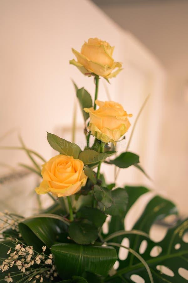 Tre rose gialle fotografia stock libera da diritti