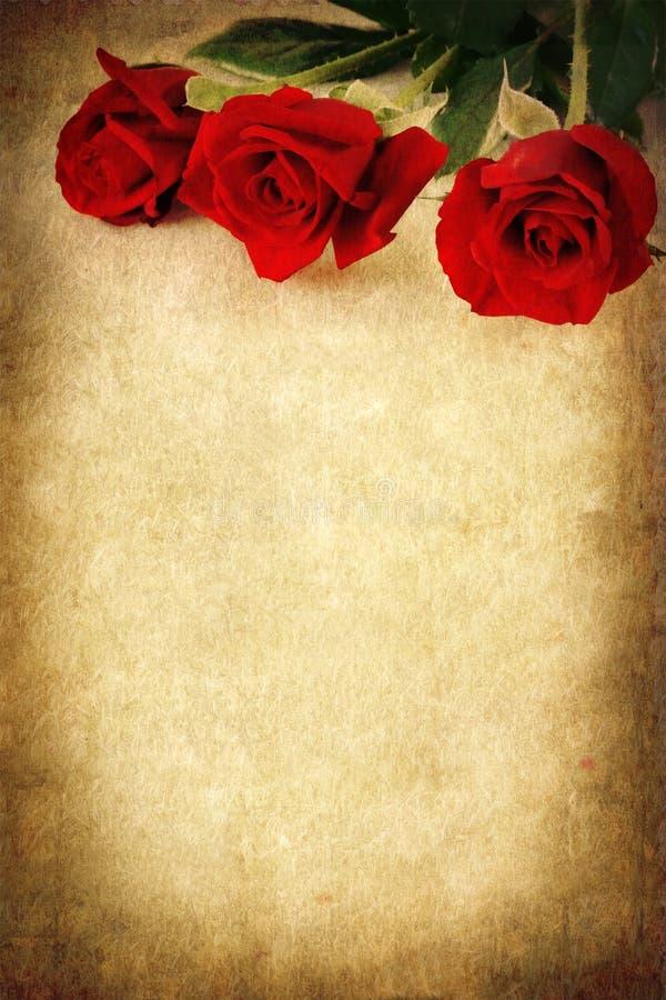 Tre rose rosse sopra la priorità bassa di Grunge fotografie stock libere da diritti