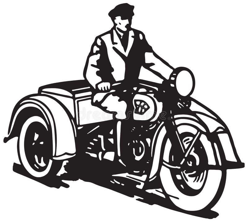 Tre rullad motorcykel stock illustrationer