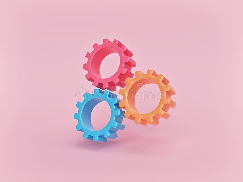Tre ruote di ingranaggio isolate su fondo rosa pastello concetto minimo di lavoro di squadra rappresentazione 3d illustrazione di stock
