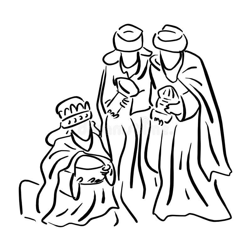 Tre saggi che portano i regali allo sketc dell'illustrazione di vettore di Gesù illustrazione di stock