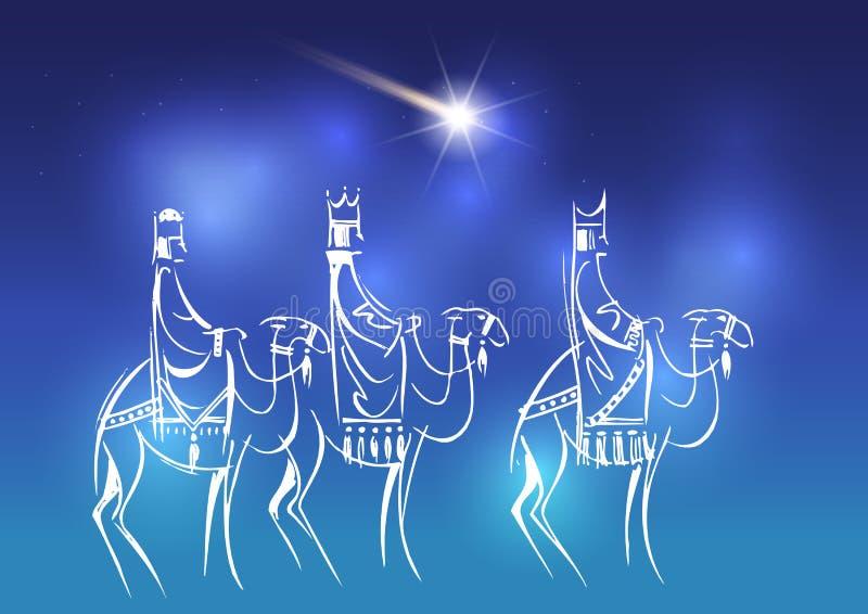 Tre saggi stanno visitando Jesus Christ dopo la sua nascita illustrazione di stock