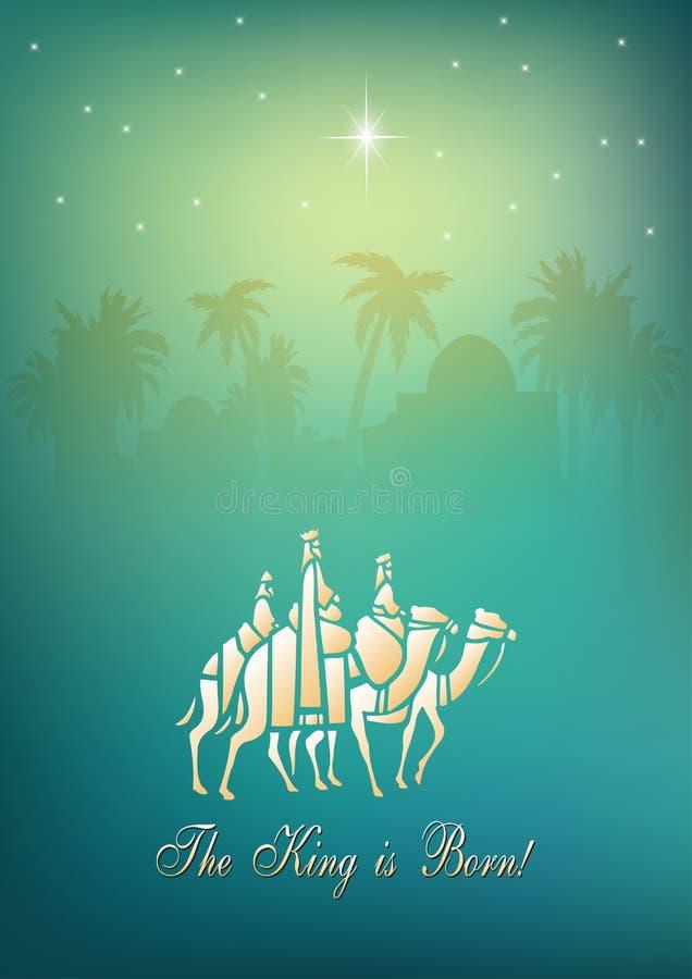Tre saggi stanno visitando Jesus Christ dopo la sua nascita illustrazione vettoriale