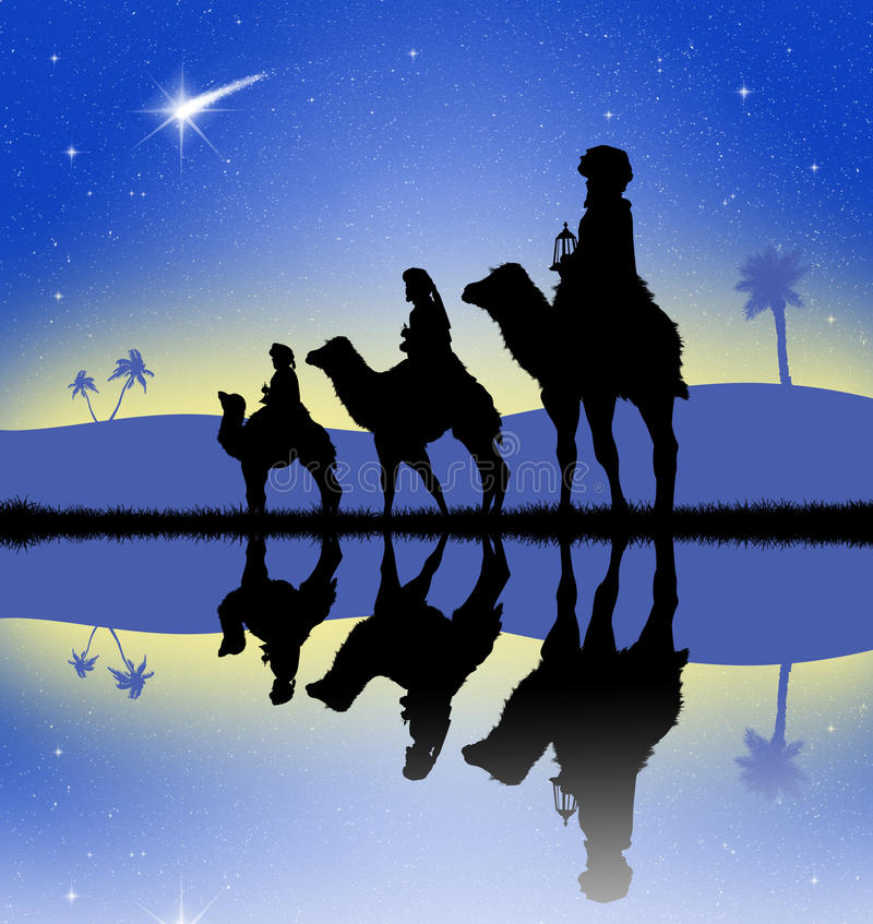 Tre saggi sui cammelli royalty illustrazione gratis