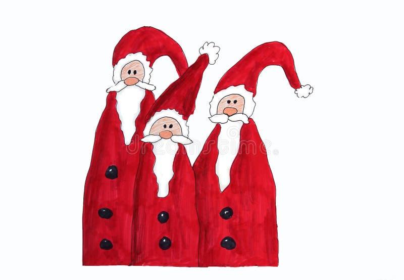 Tre Santa Claus, barns målning stock illustrationer