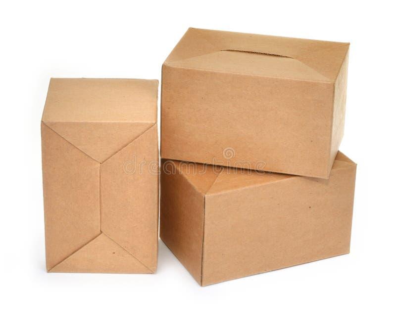 Tre scatole di cartone #2 fotografia stock libera da diritti