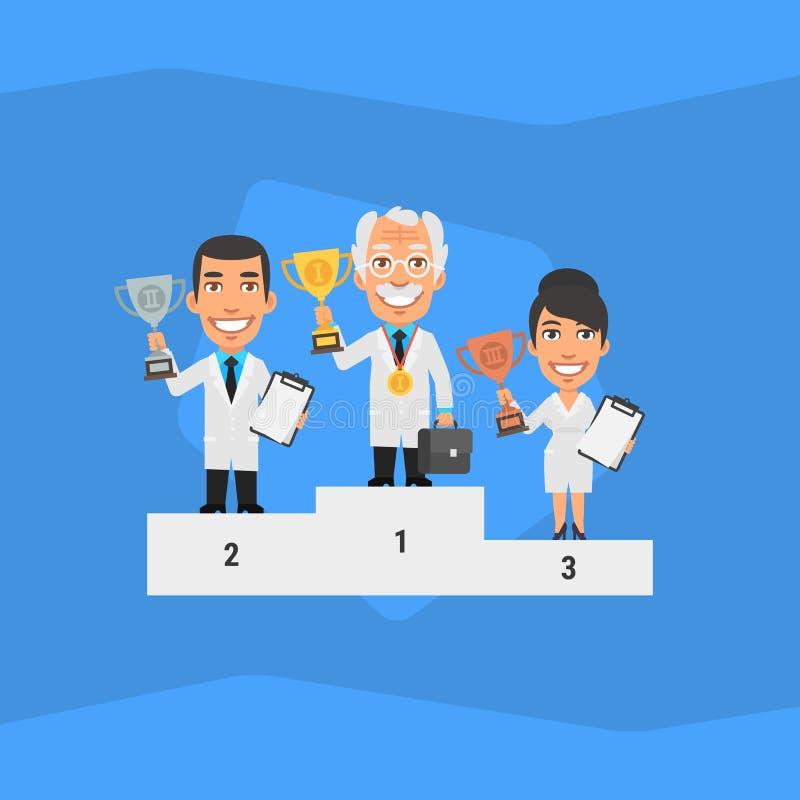 Tre scienziati che stanno sul piedistallo e che tengono tazza illustrazione di stock