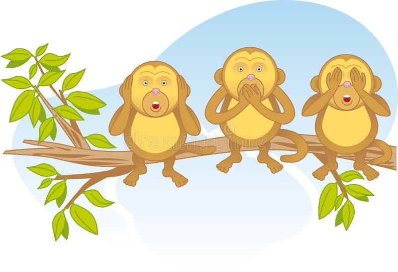 Tre scimmie saggie su una filiale immagine stock