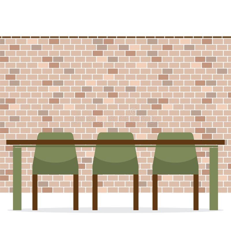Tre sedie vuote con la Tabella lunga sul muro di mattoni illustrazione vettoriale
