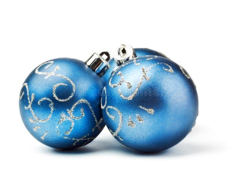 Tre sfere blu della decorazione fotografia stock