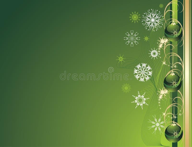 Tre sfere verdi di natale con i fiocchi di neve. Scheda illustrazione vettoriale
